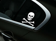 Skull Crossbones Car Sticker Window Styling Decal, White