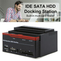 External Two SATA IDE HDD Docking Station 2.5''/3.5''Hard Drive Card ReadeJ BDA