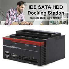 External Two SATA IDE HDD Docking Station 2.5''/3.5''Hard Drive Card Reade JB