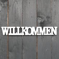 Willkommen Schriftzug aus Holz 44cm weiß Buchstaben Wanddeko Holzschild NEU