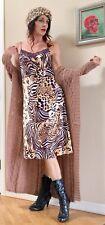 Natori Animal Print Leopard Silky Lace Trim Midi Slip Dress XS