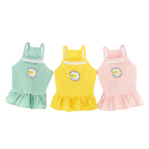 Summer Cute Pet Dog Sling Dress Vest Clothes Daisy Lace Puppy Cat Princess Skirt