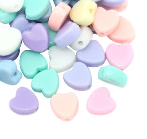 ❤ 100 x Mixed HEART Acrylic PASTEL 8mm Spacer Beads Children Jewellery Making ❤
