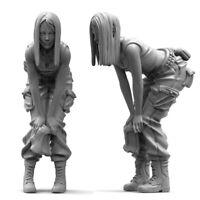 Unpainted 1/35 Halve Squat Beauty Girl Japan Resin Figure Model Kit Unassembled