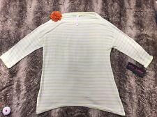 Betsey Johnson Women Blouse Performance S Green & White Striped Top