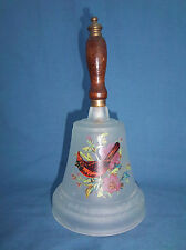 Frosted Glass Bell Wooden Handle Picture of a Red Cardinal Bird Blossoms Flowers