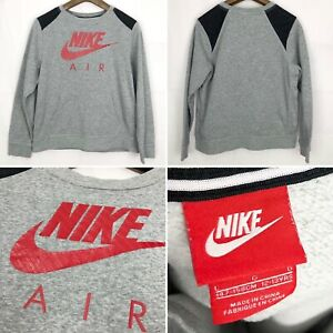 Boys NIKE AIR Sweatshirt Size Large Age 12-13 Years In Grey & Red Long Sleeve