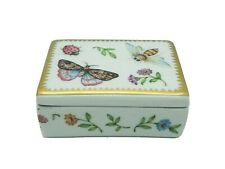 Butterfly Floral Bee Ladybug Insect Henriette Porcelain Trinket Jewelry Box