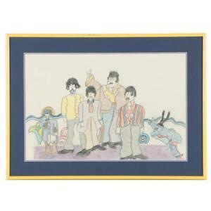 Framed Crayon Drawing of The Beatles Lennon Ringo McCartney Harrison Signed SMB