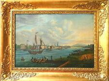 Schiffenmotiv in Rouen Frankreich Antike Historische Romantische Ölgemälde 1841