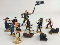 Safari Ltd Pirate Figure Toy Collection 13 pc Lot Skeleton,Canon,Lady,Chapme,Peg