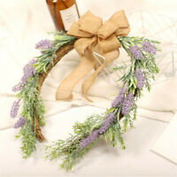 Lavender Bow Garland Artificial Flowers Wreath Wedding Home Door Hanging Decor