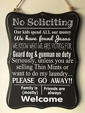 #2 NO SOLICITING Sign home privacy door guard dog, Voting, Kids Family Friends