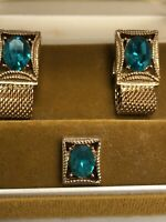 Vintage *SWANK* Cuff Link Tie Tack Wrap-Around Set Gold Tone BLUE ZIRCON Dec NOS