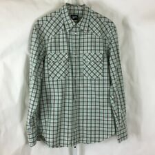 Stussy Mens Long Sleeve Pearl Snap Western Shirt Made in USA Mint Green Plaid L