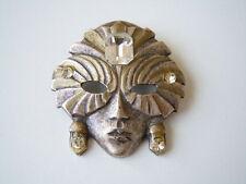 Silberfarbene Modeschmuck Strass Brosche Maske 12,9 g/4,0 x 3,8 cm