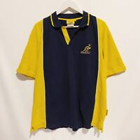 Australian Wallabies Cooper Sports Rugby Polo Shirt Blue Mens Large