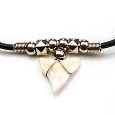 Extra large XL 25-28 mm bull shark tooth chrome coloured beads beach diving c179