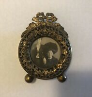 Antique Art Nouveau Brass Filigree Round Small Miniature Picture Frame Bow Gold