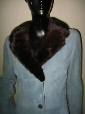 STUNNING DOLCE & GABBANA LT. BLUE SUEDE COAT W/ FOX FUR COLLAR LEOPARD PRINT 40