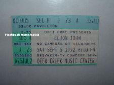 ELTON JOHN Concert Ticket Stub 1992 INDIANAPOLIS Deer Creek Music Center RARE
