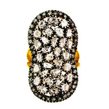 2.28Ct Diamond Pave Engagement Ring 925 Silver Wedding 14K Yellow Gold Jewelry