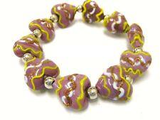 "Amethyst Ceramic Porcelain Heart Stretch Bracelet 7.5"" New w/ Gift Bag"