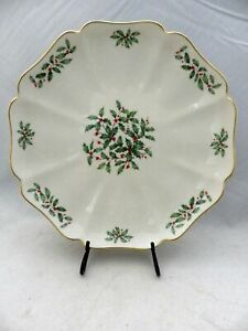 Lenox Holiday (holly & berries) - rectangular scalloped Serving plate, VGC