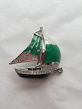 NEW ST JOHN KNIT WOMENS DESIGNER JEWELRY GREEN & SILVER SAIL BOAT PIN CRYSTALS