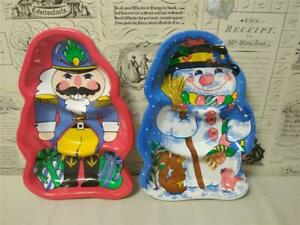 Vintage Berman Celluloid Christmas Party Serving Trays (2) Snowman & Toy Soldier