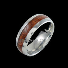 Unbranded Wooden Stainless Steel Band Fashion Rings