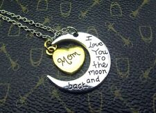 Silver I Love You Mom Heart & Moon Pendant Necklace Silver Rare Gift For Mother