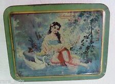 VTG  TIN SWEET BOX  Art Painting Subject Loving lady Natural beauty INDIA