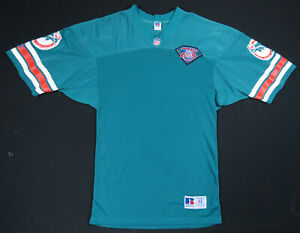 Vintage 90s Miami Dolphins 1994 Russell Athletic NFL Football Aqua Blank Jersey
