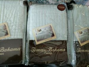 Set/3: nip Tommy Bahama Surfside Quilted Euro Shams Aqua Light Green