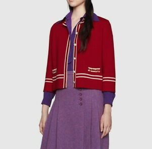 Gucci Wool jacket with contrast trim, red, size S