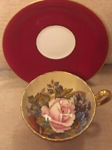 AYNSLEY ENGLISH BONE CHINA J A BAILEY CABBAGE ROSE CABINET TEA CUP AND SAUCER