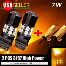 2x 3157 High Power 7W Projector Amber Yellow LED Dual Filament Light Bulbs