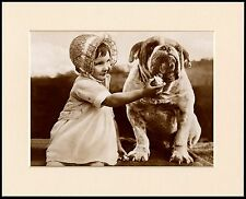 ENGLISH BULLDOG AND LITTLE GIRL FEEDING DOG CHARMING PHOTO PRINT READY MOUNTED