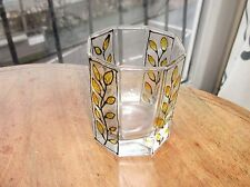 UNUSUAL HAND ENAMEL PAINTED PIPE LINED TUMBLER GLASS LEAF DESIGN EX COND