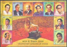 India 2016 MNH SS, Singers, Mukesh, Kishore, Rafi, Geeta Dutt, Manna Dey