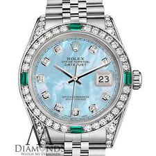 Ladies Rolex Datejust 31mm Stainless Steel Baby Blue MOP Emerald Diamond Watch