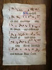 Genuine 14th/15th Century Gregorian Chant Illuminated Music Manuscript on Vellum