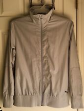 PUMA MENS LONG SLEEVE FULL ZIP LIGHTWEIGHT GRAY TRACK GOLF JACKET SIZE S EUC!