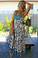 NWT Angie Cream Teal Smocked Halter Floral V-Neck Boho Midi Maxi Fall Dress