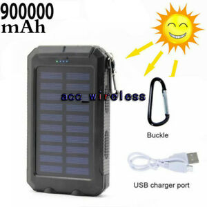 2021 Waterproof 900000mAh USB Portable Charger Solar Power Bank For Cell Phone