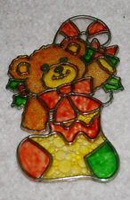 "Christmas Teddy Bear Stocking Sun Catcher Holiday Vintage Ornament 6"" Plastic"