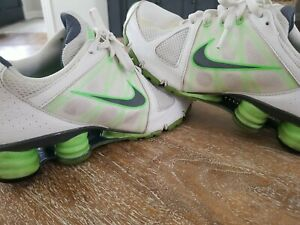 NIKE Women's 9.5 M Shox Agent Running Sneakers Shoes White / Lime  438683