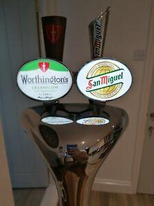 2 Tap Chrome Light Up Beer Pump / Font With Transformer. Pub / Bar / Mancave