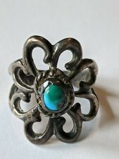 Vintage Navajo Sand Cast Sterling Turquoise Ring Size 7